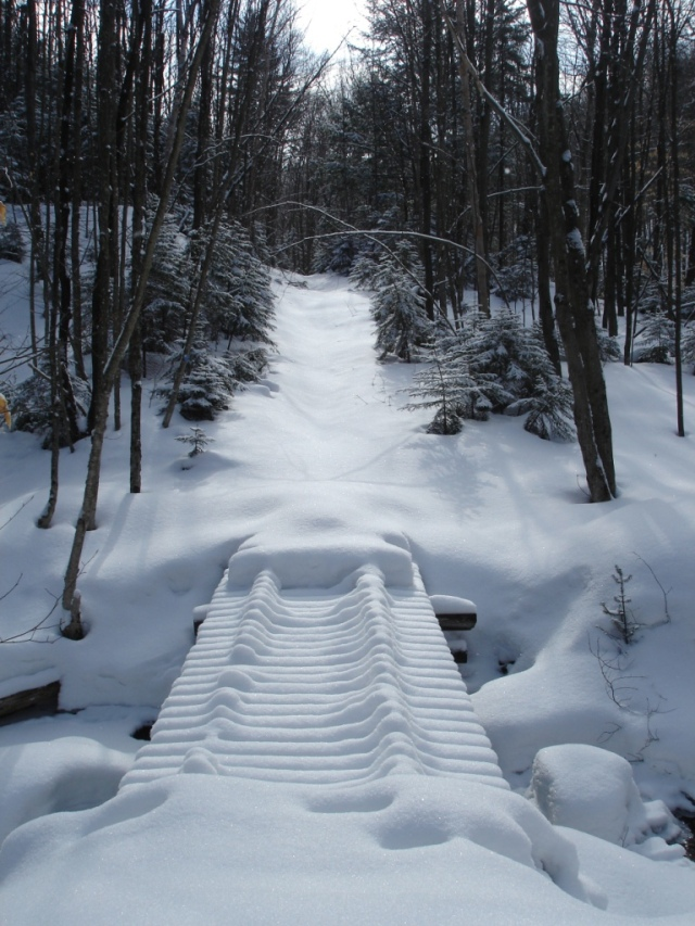 Untracked powder on footbridge, Adirondacks