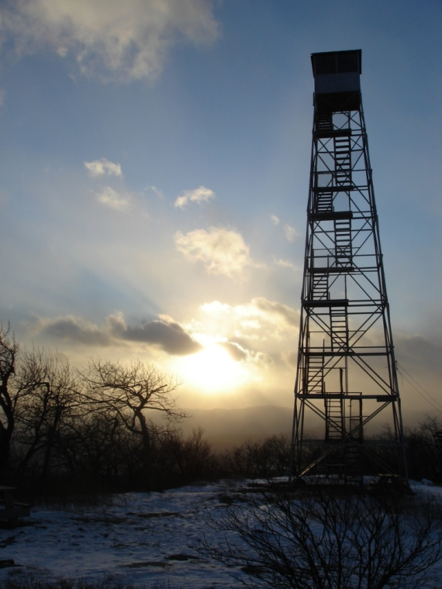 Overlook Mountain fire tower at 5 degrees, Catskills